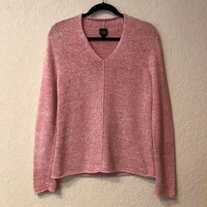 Eileen Fisher | Pink Knit V-Neck Sweater
